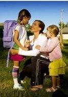 mom talking to her children about their behavior problems in school