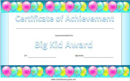 Child Behavior Guide  Printable Certificates Of Achievement