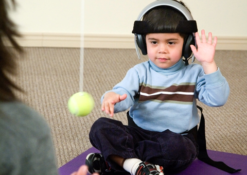 child engaging in integrated listening systems