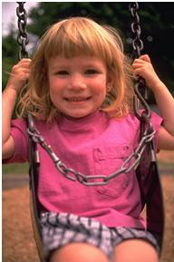 using discrete trial training with little girl swinging to increase eye contact