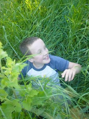 Hodgins playing in the grass