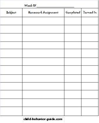 Printable Homework Charts for Kids