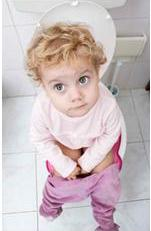 Little girl sitting on toilet working on potty training in 3 days