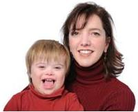 woman with child with down syndrome symptoms